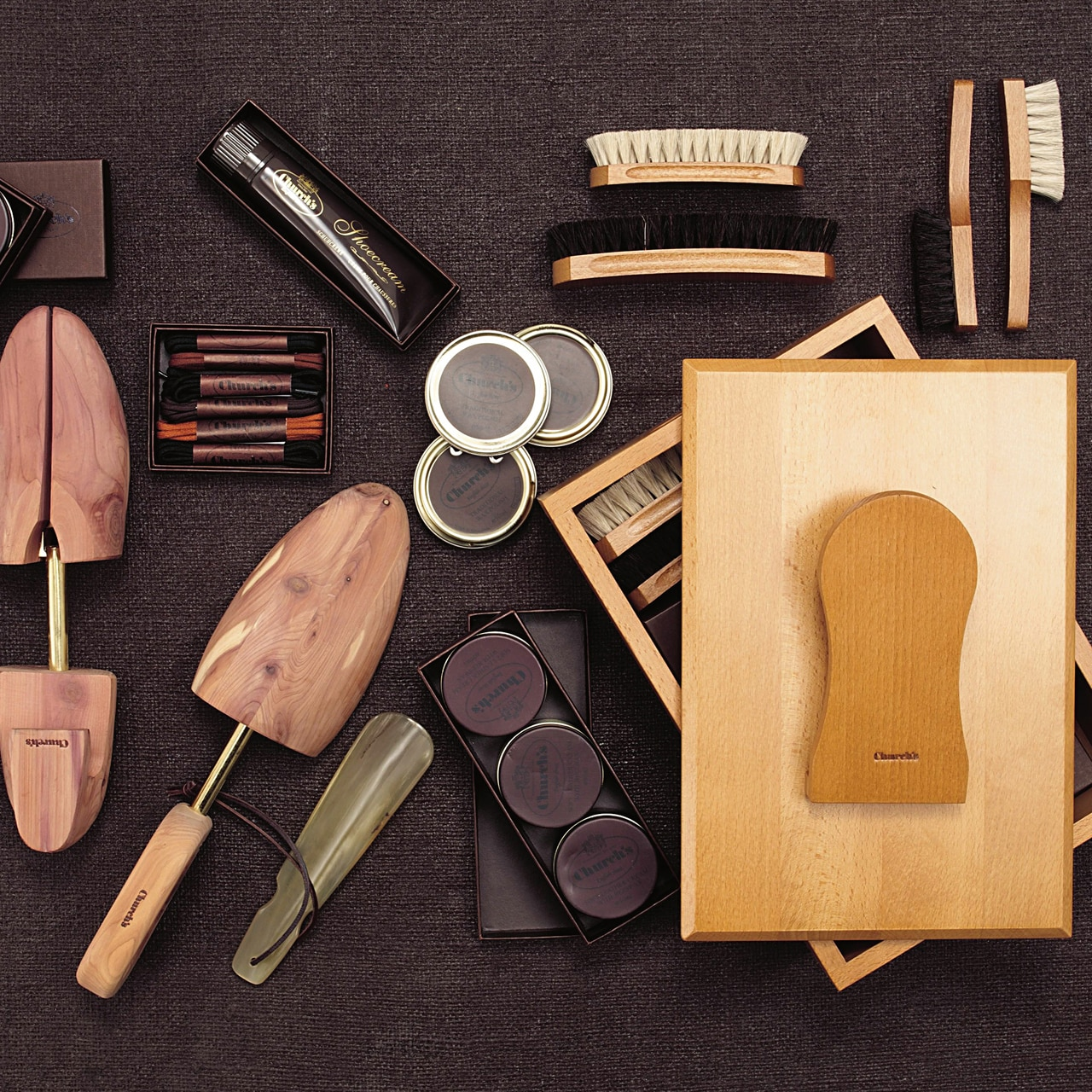 Shoe trees and polishes and brushes