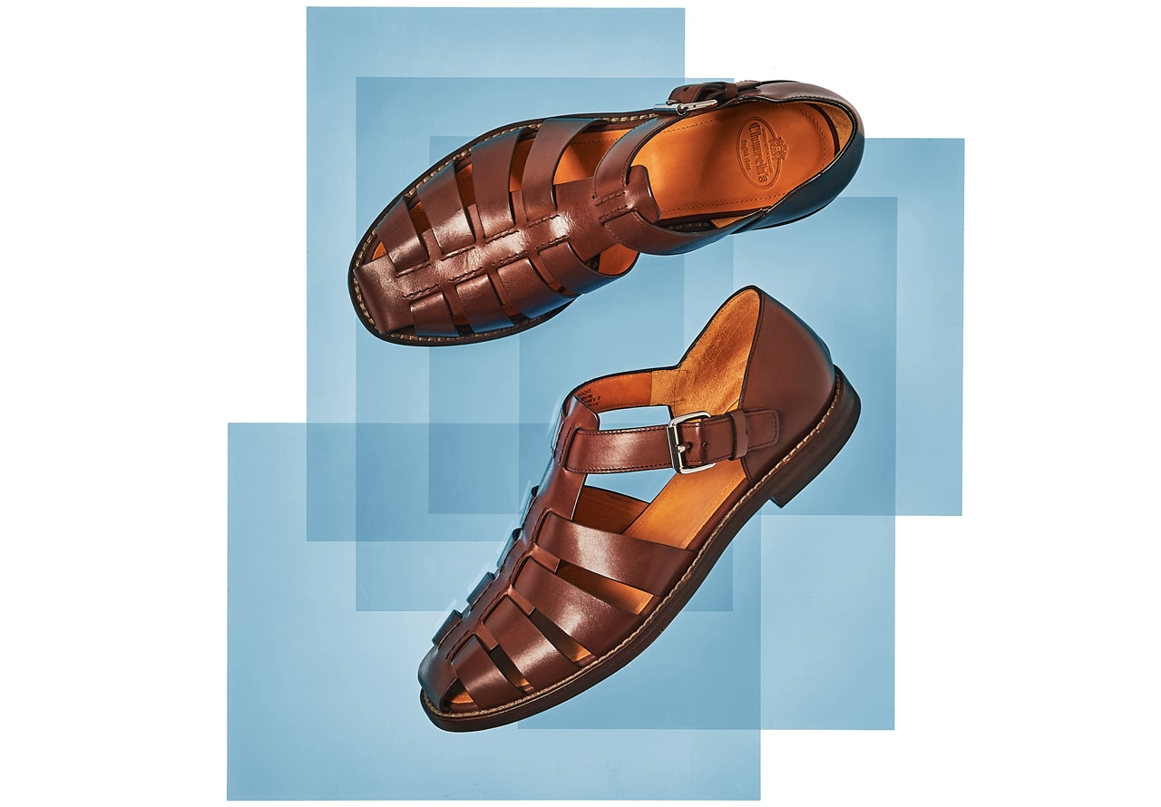 Brown Leather Fisherman Strap Sandals