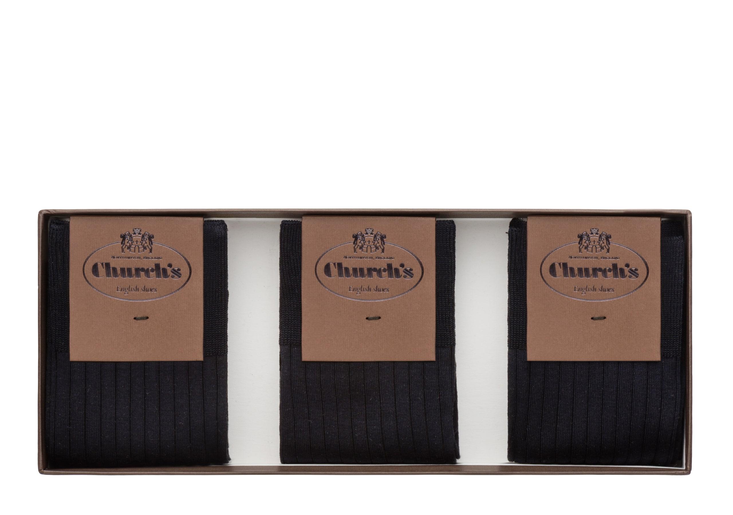 Three-pack socks Church's Chaussettes courtes en fil d'Écosse Bleu