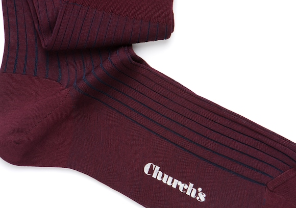 Church's Contrast ribbed long socks Cotone a Coste Lungo Burgundy