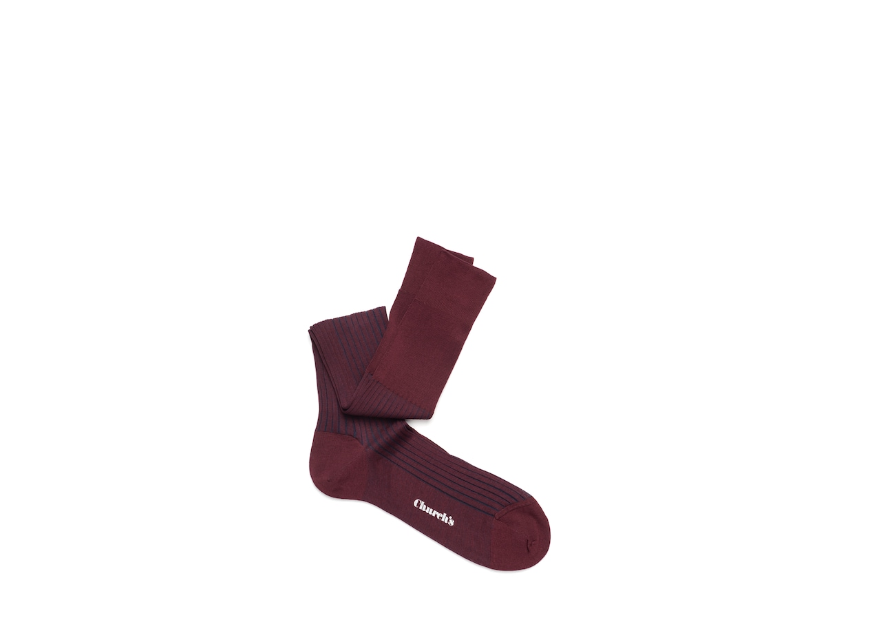 Contrast ribbed long socks Church's Cotton Ribbed Long Burgundy