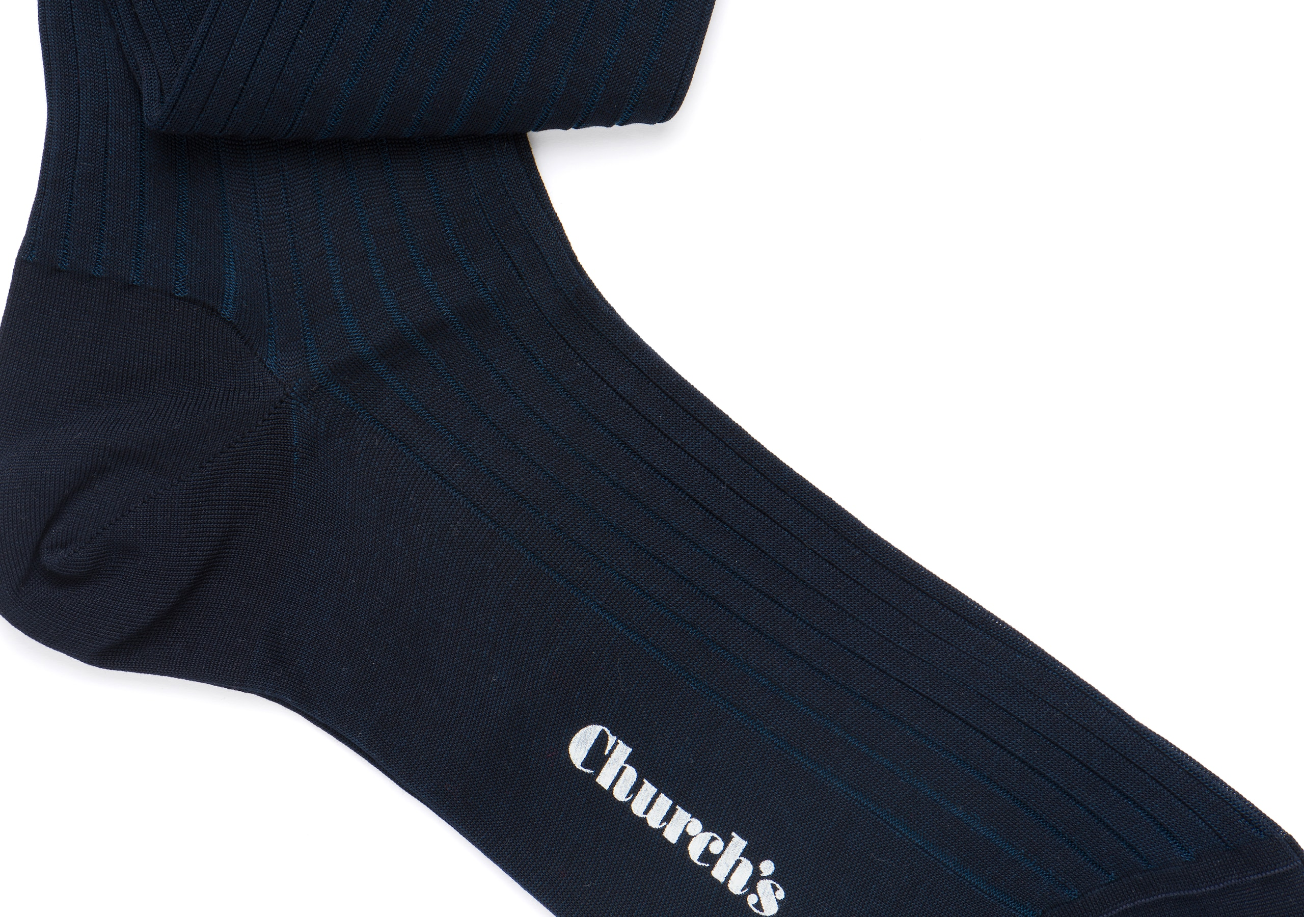 Contrast ribbed long socks Church's Cotton Ribbed Long Blue