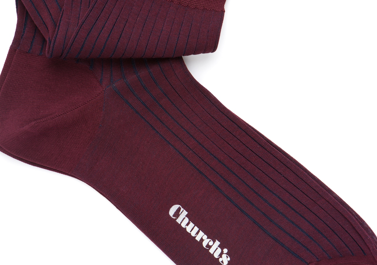 Contrast ribbed socks Church's Cotton Ribbed Short Burgundy