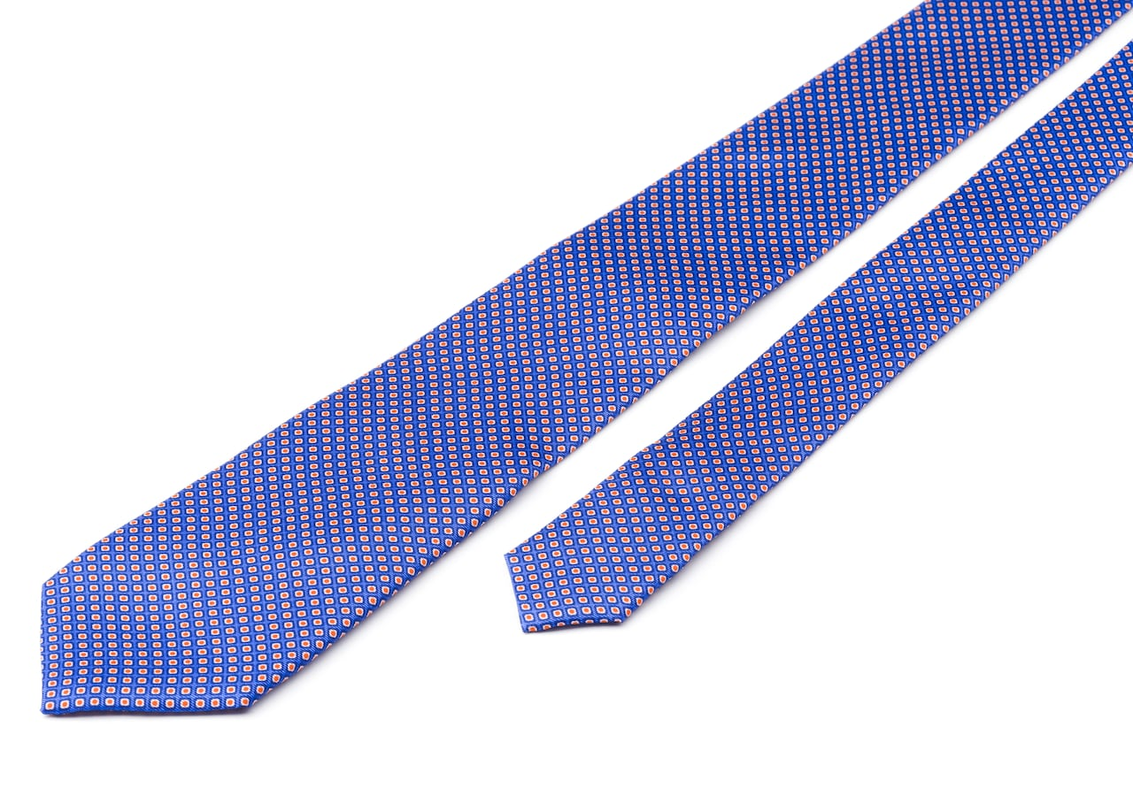 Rhombus print tie Church's Printed Silk Twill Blue