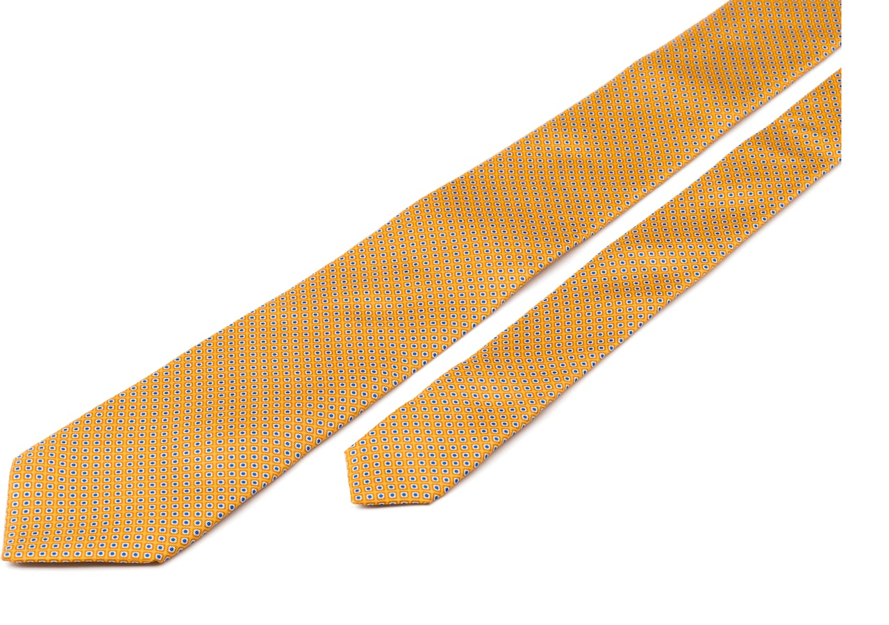 Rhombus print tie Church's Printed Silk Twill Yellow