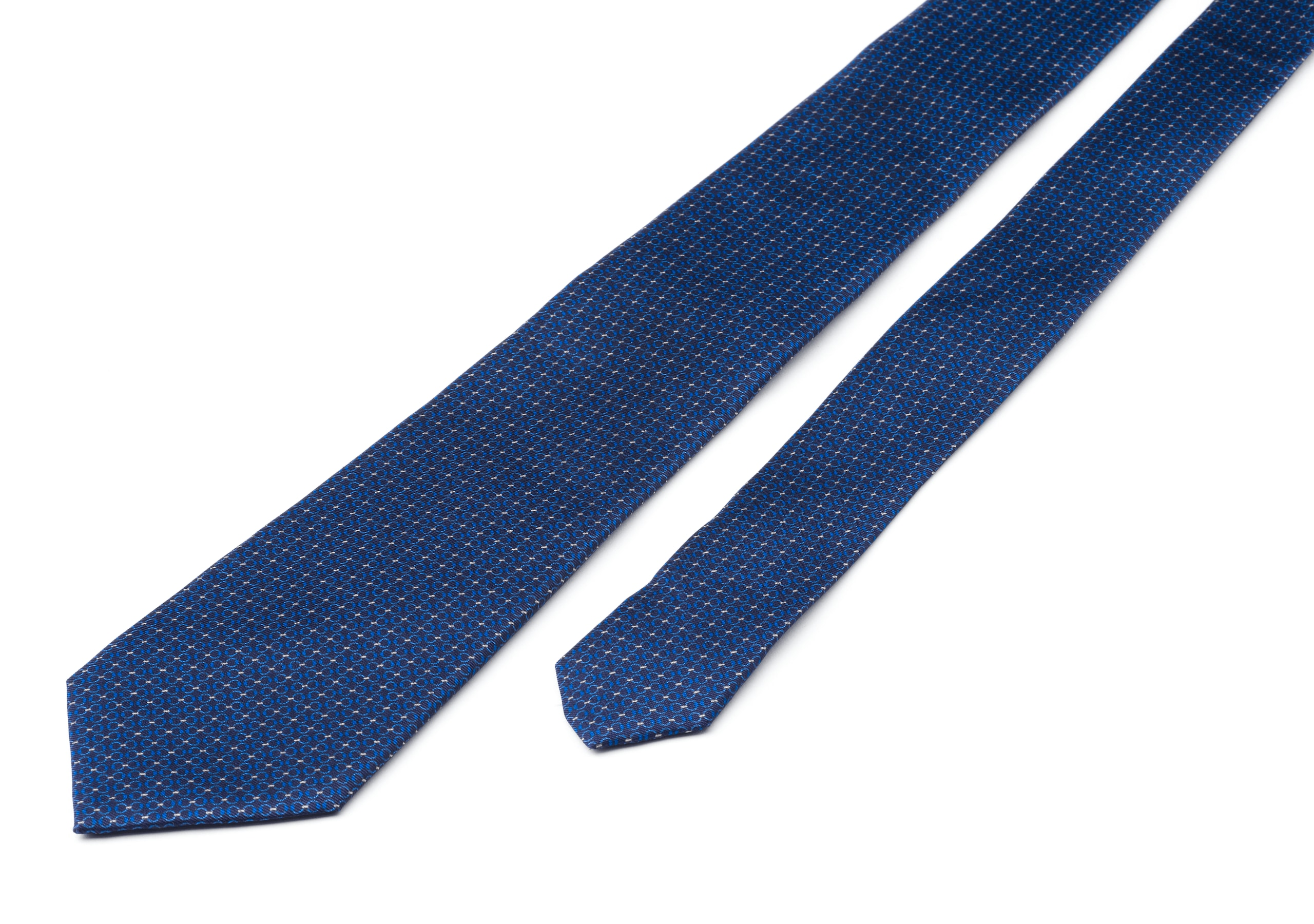 Chain print tie Church's Printed Silk Twill Blue
