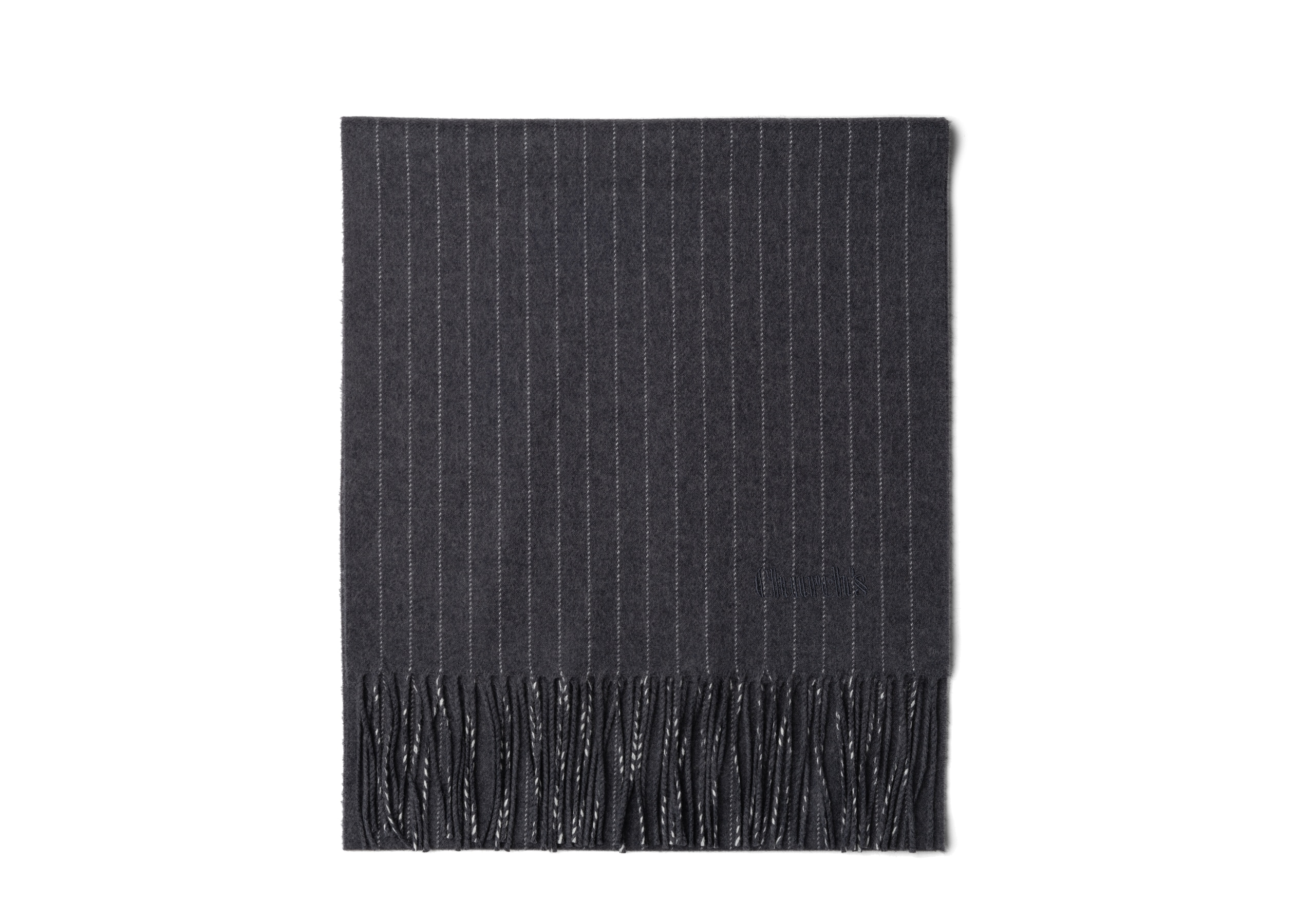 Scarf Church's Pinstripe Wool Grey