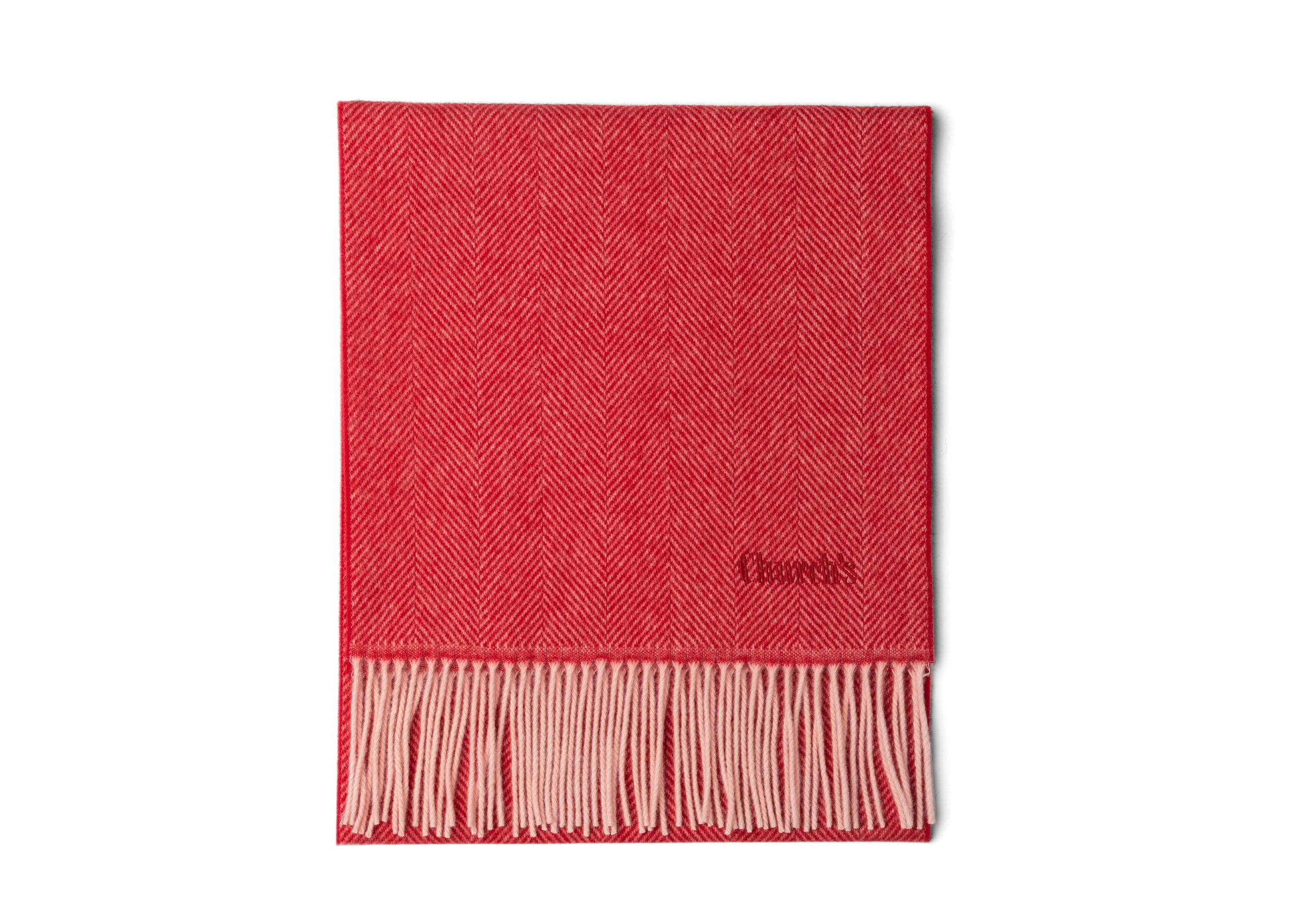 Scarf Church's Herringbone Wool Red