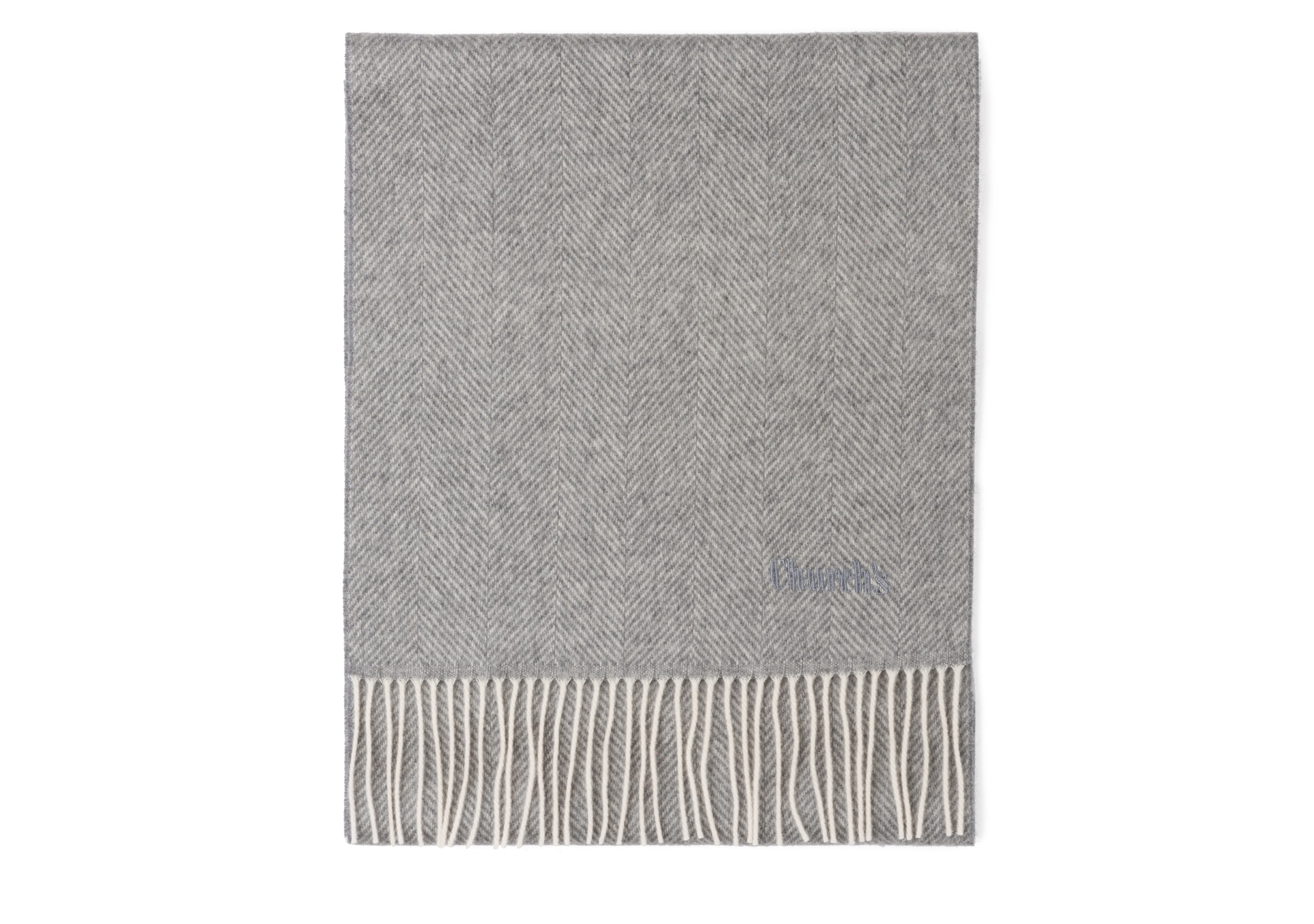 Scarf Church's Herringbone Laine Gris
