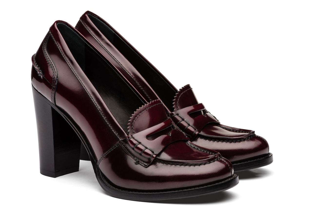 Pembrey 90 Church's Polished Fumè Heeled Loafer Burgundy
