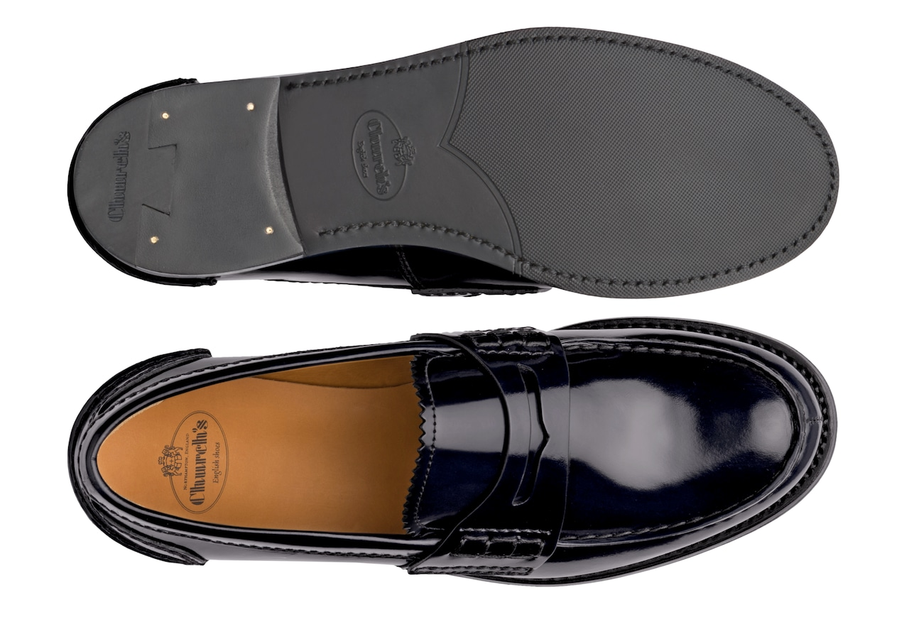 Pembrey w Church's Polished Fumè Loafer Blue