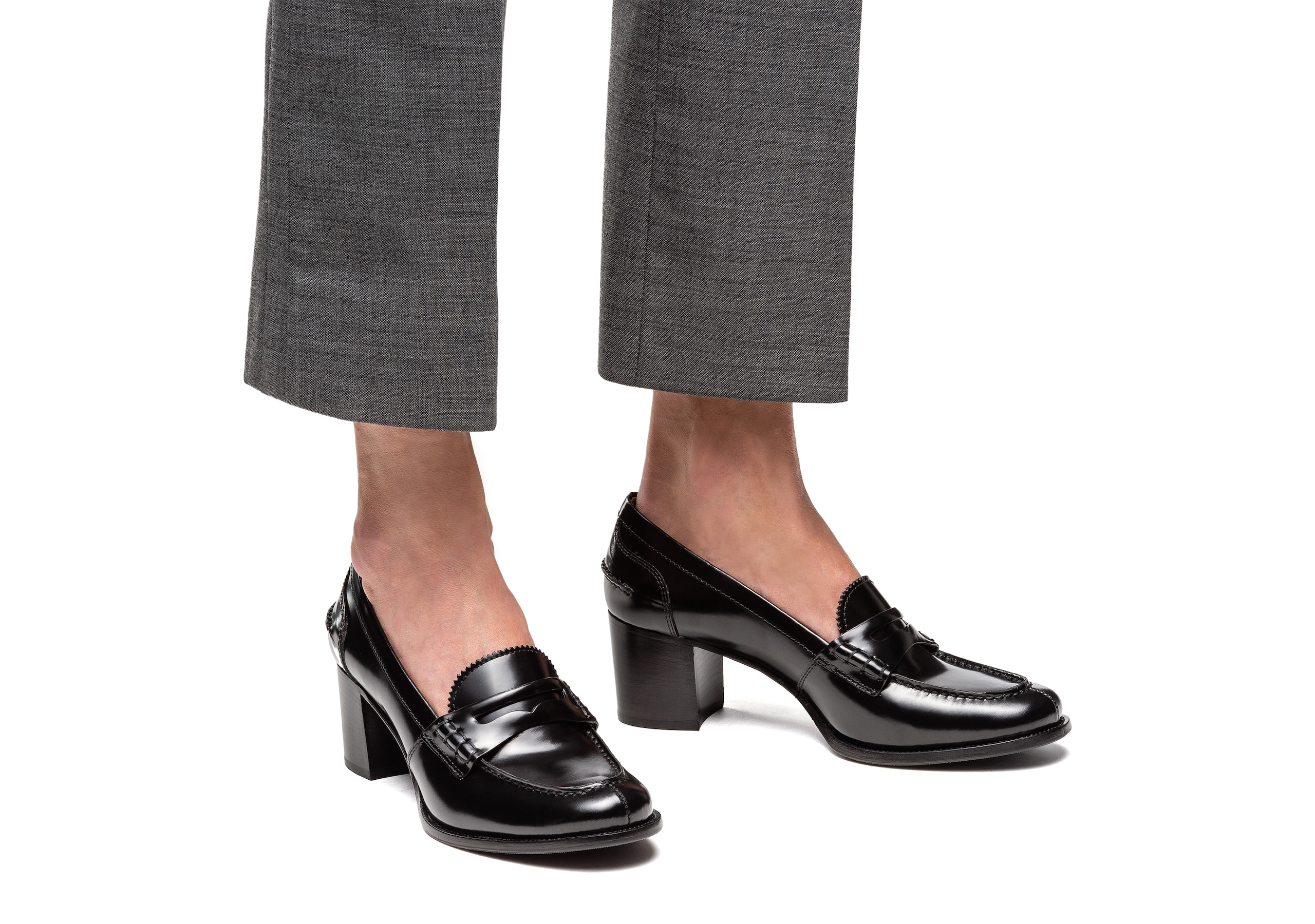 Pembrey 50 Church's Polished Fumè Heeled Loafer Black