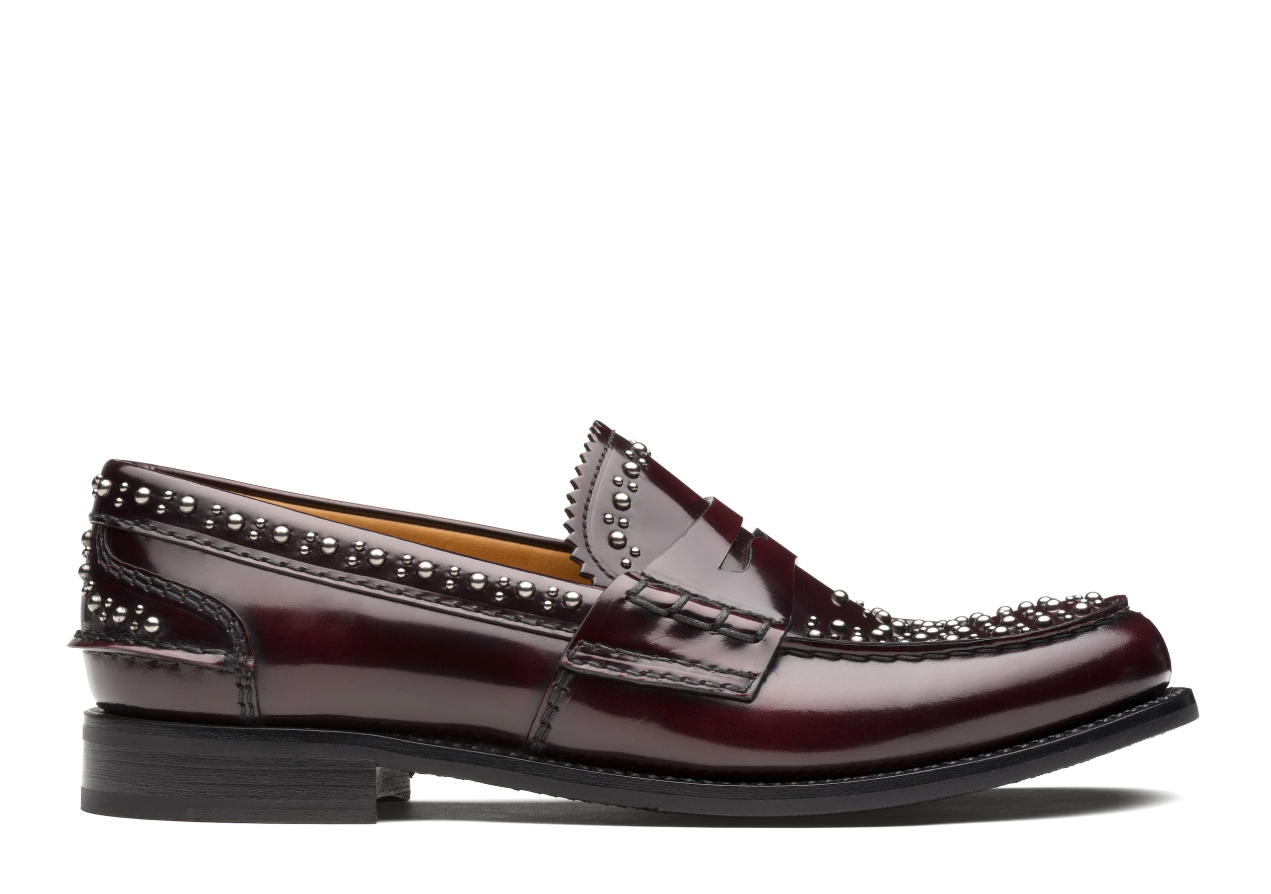 Pembrey met. w Church's Polished Fumè Loafer  Stud Burgundy