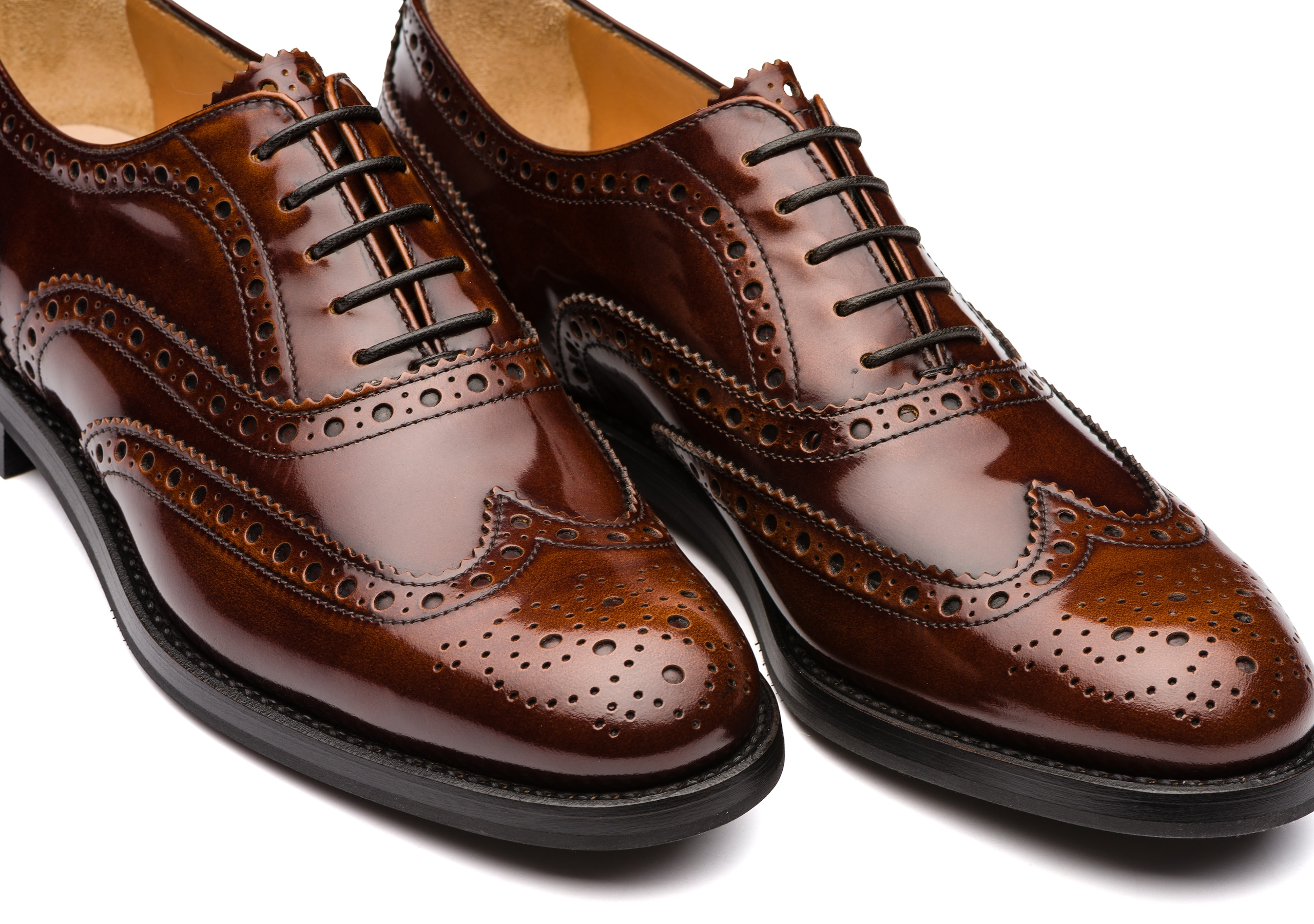 Burwood wg Church's Oxford Brogue in Pelle Lucida Fumè Marrone