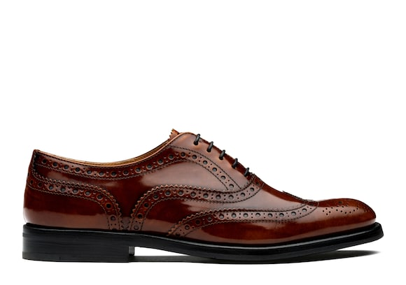 Church's Burwood wg Oxford Brogue in Pelle Lucida Fumè Tabac