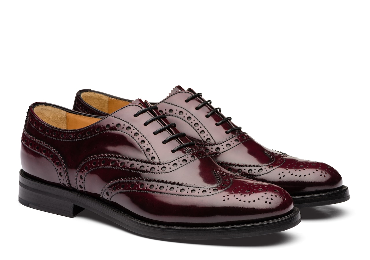 Burwood wg Church's Polished Fumè Oxford Brogue Burgundy