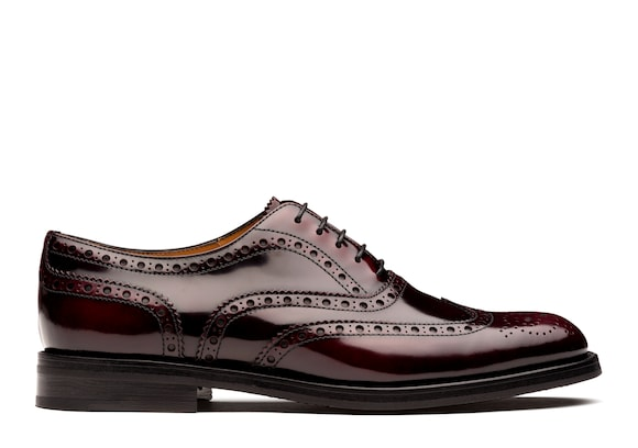 Church's Burwood wg Oxford Brogue in Pelle Lucida Fumè Burgundy chiaro