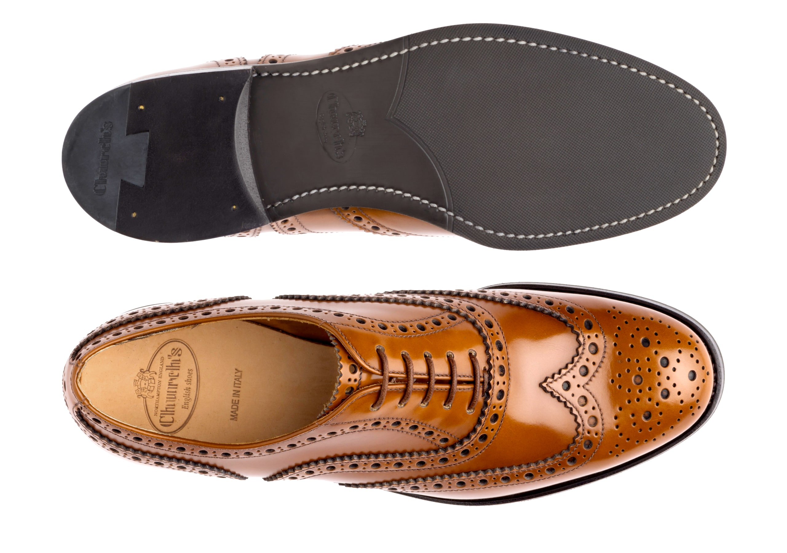 Burwood wg Church's Polished Binder Oxford Brogue Brown