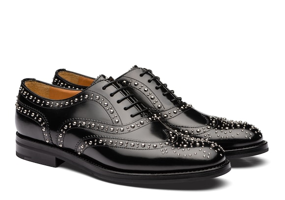 Church's Burwood met. Oxford Brogue in Pelle di Vitello Spazzolato Borchia Nero