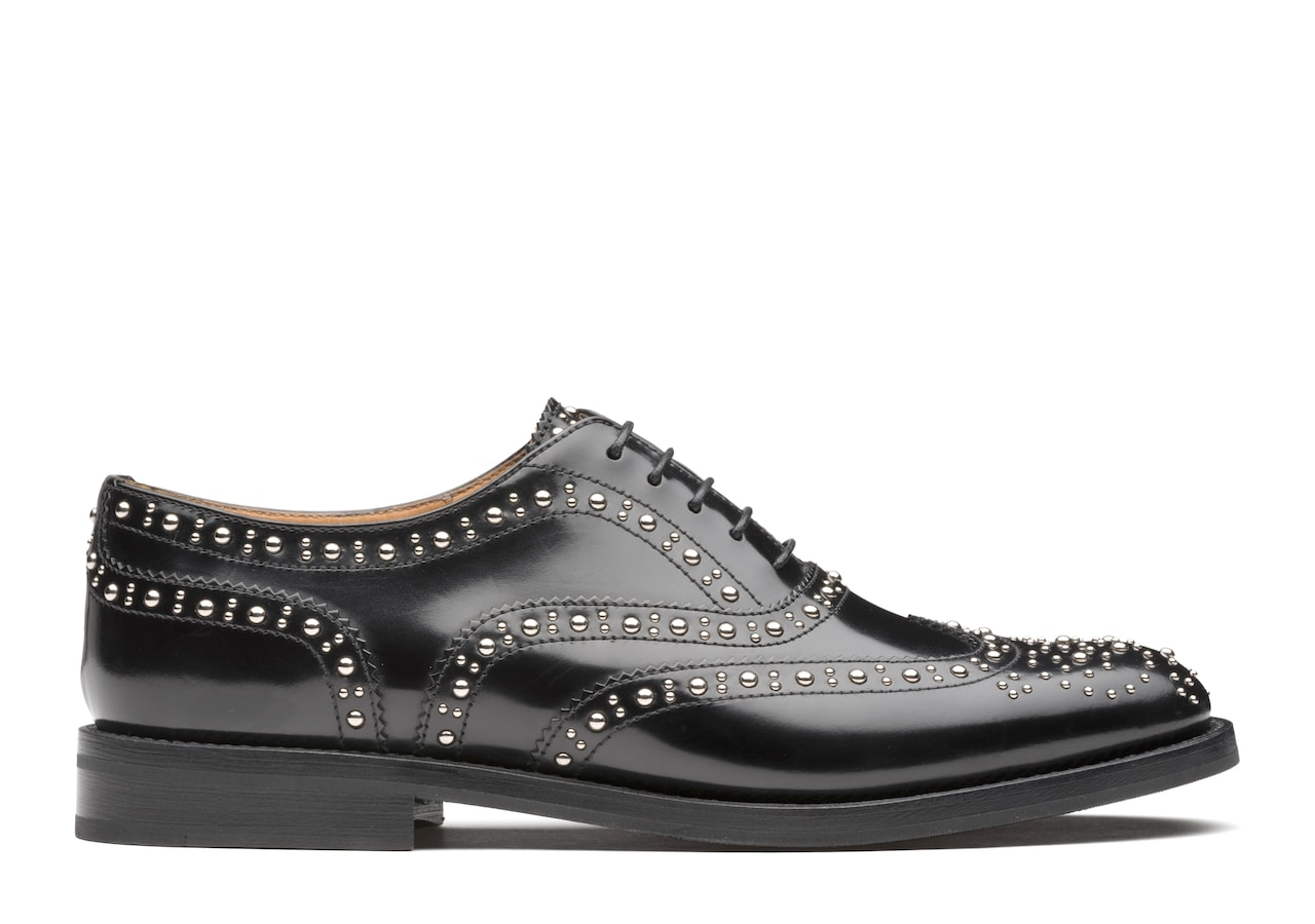 Burwood met Church's Polished Binder Oxford Brogue  Stud Black