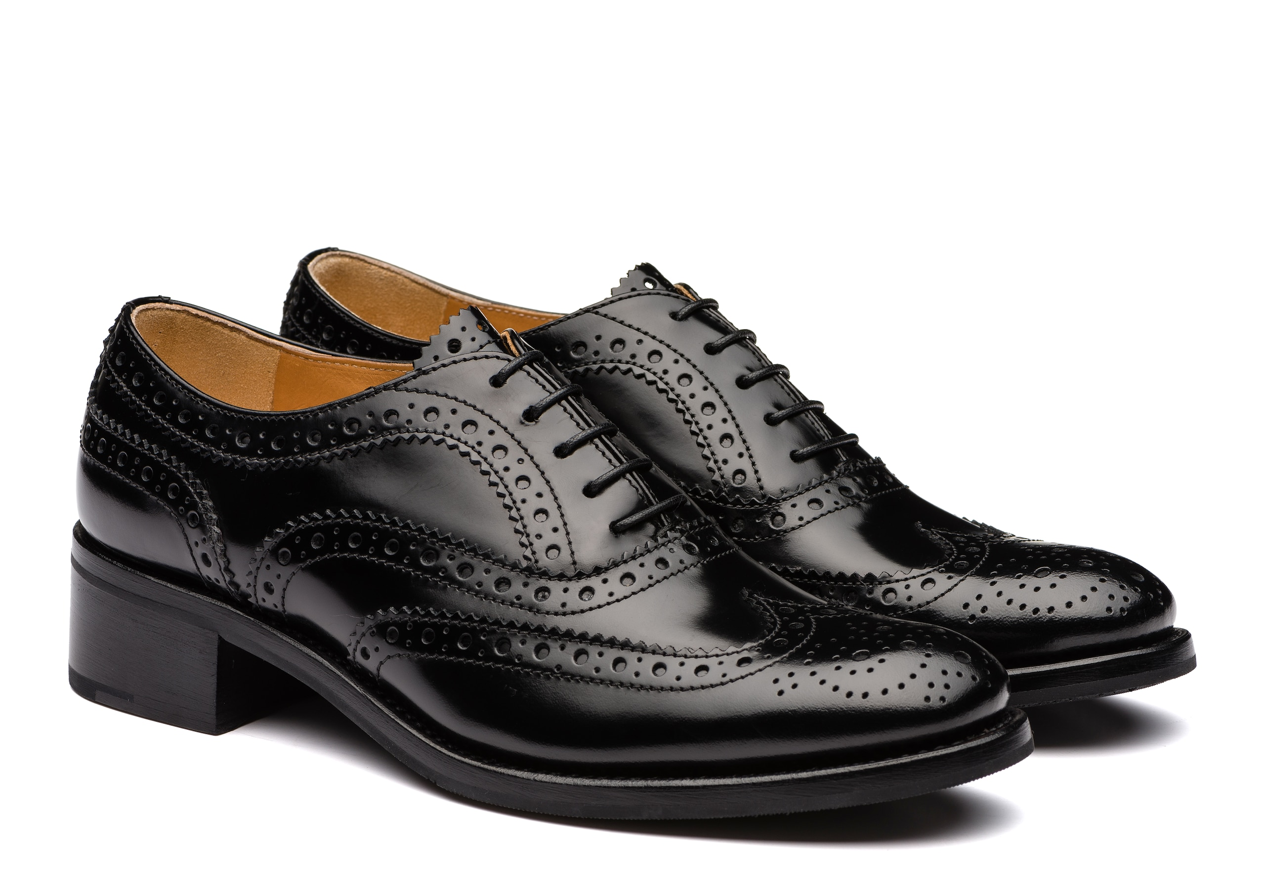 Burwood 35 Church's Polished Fumè Heeled Oxford Brogue Black