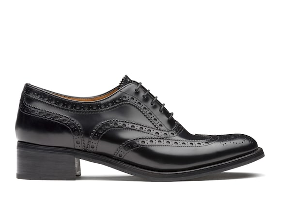Polished Fumè Heeled Oxford Brogue