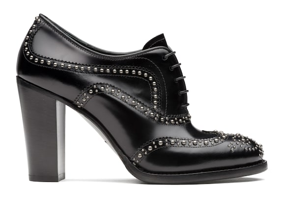 Polished Fumè Heeled Brogue  Stud