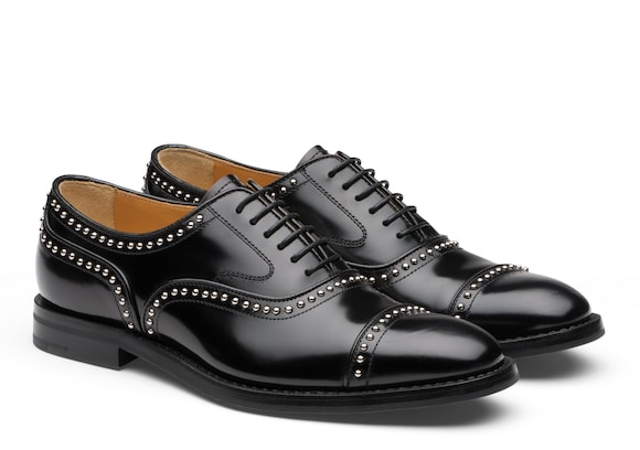 Church's  Polished Fumè Oxford Stud Black