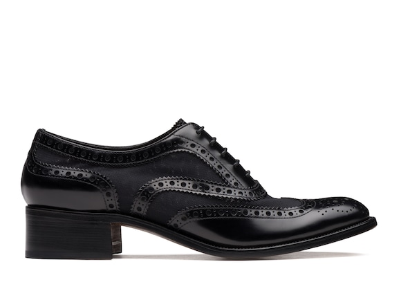 Polished Fumè & Mesh Heeled Oxford Brogue