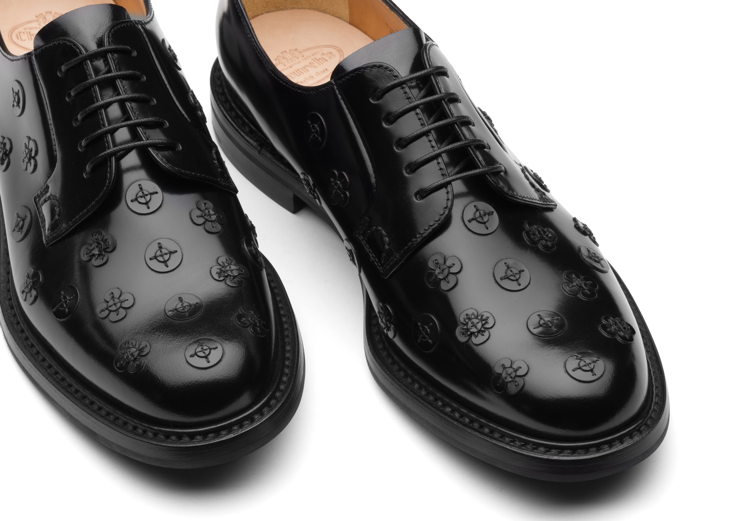 Shannon blossom Church's Derby en Cuir Glacé, Applique Noir