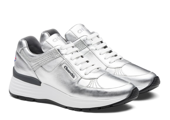 Church's Ch873 Plume Calf Leather Retro Sneaker Silver
