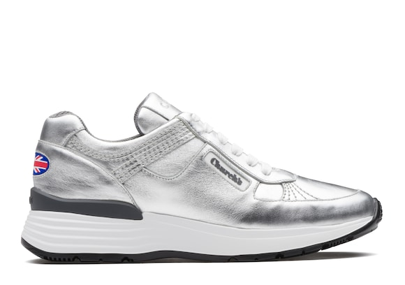 Church's true Sneaker Rétro in Pelle di Vitello Plume Argento