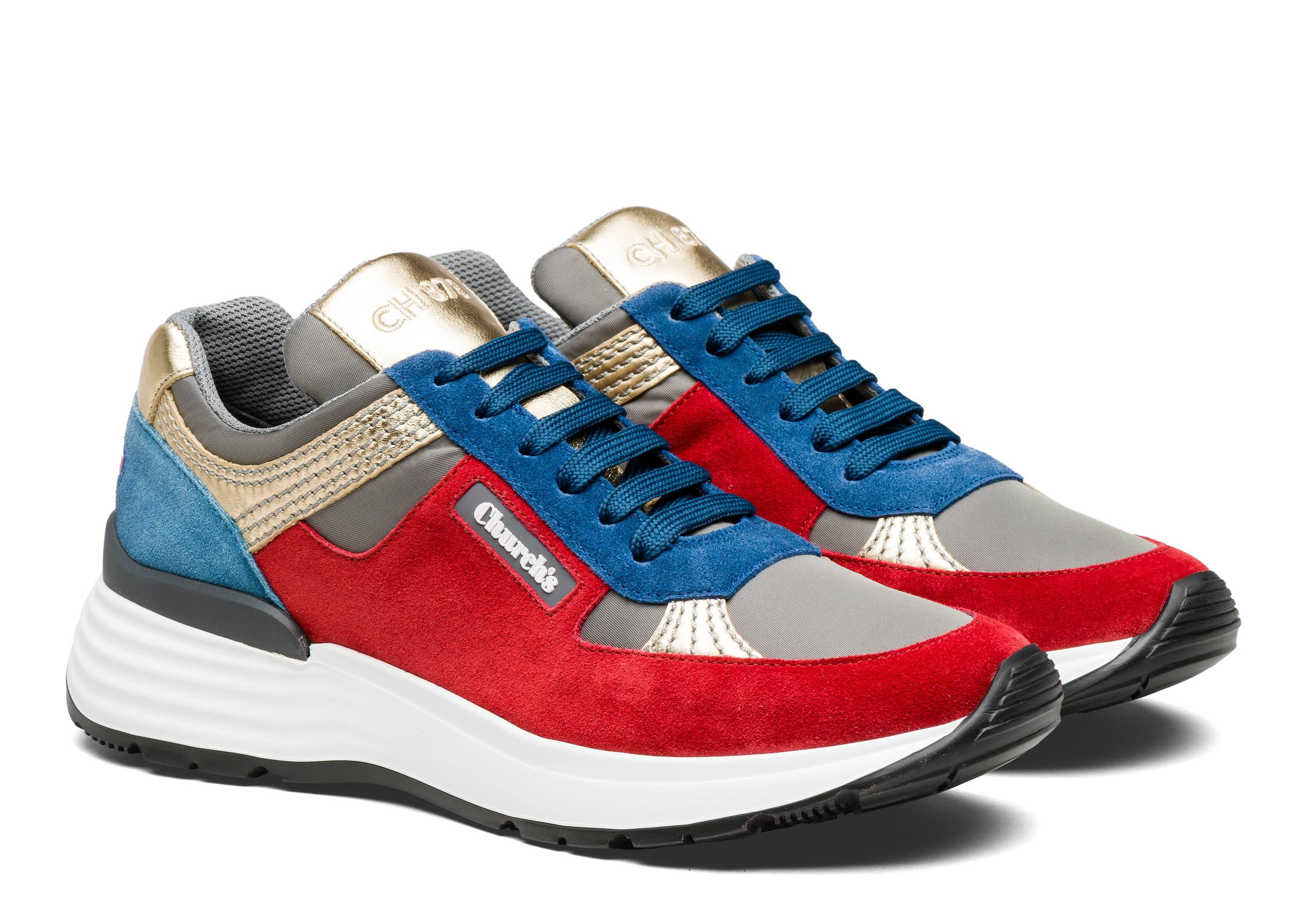 Ch873 Church's Suede Tech & Metallic Retro Sneaker Red