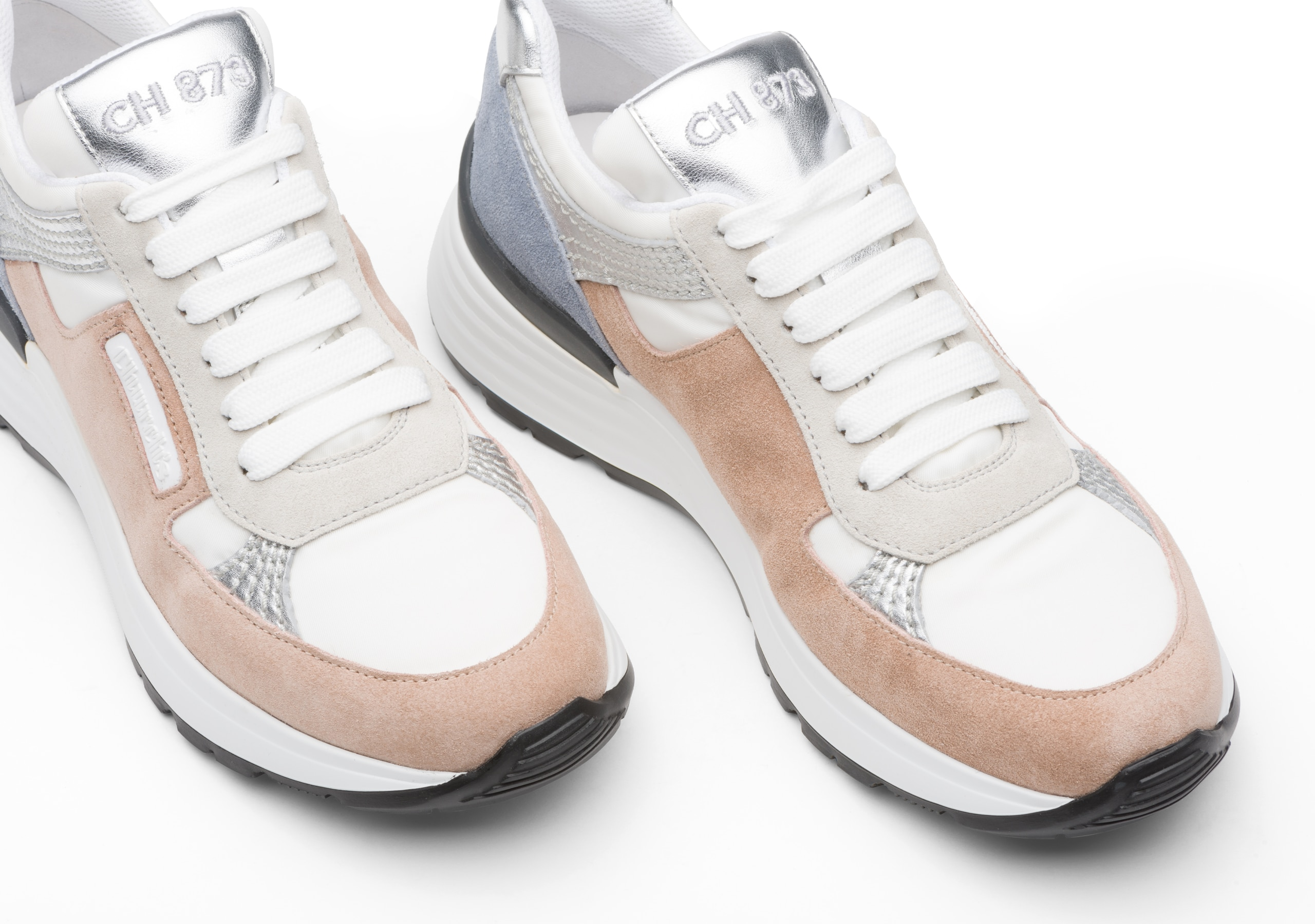 Ch873 Church's Suede Tech & Metallic Retro Sneaker Neutral