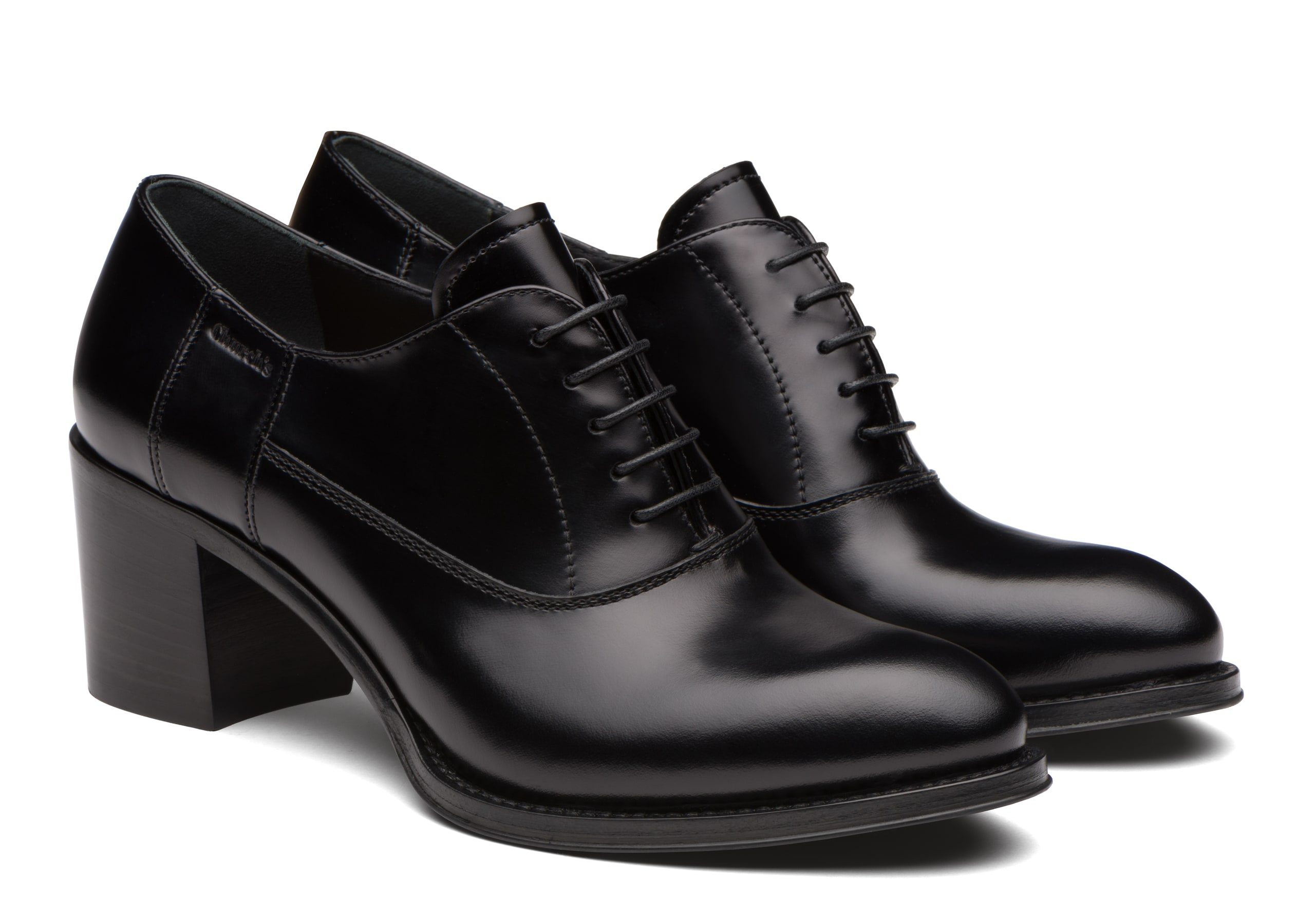 Carrie 55 Church's Polished Fumè Heeled Oxford Black