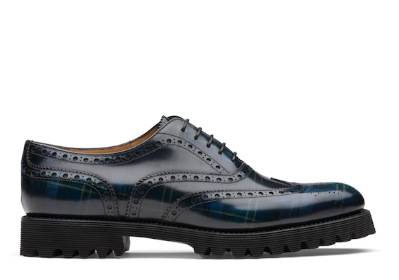 Church's true Polished Fumè Oxford Tartan Blue