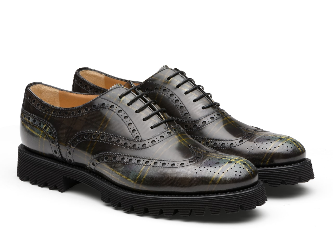 Carla Church's Polished Fumè Oxford Tartan Grey