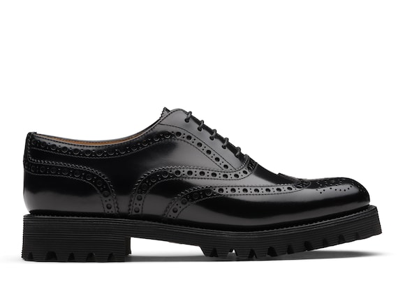 Church's true Oxford Brogue in Pelle Spazzolata Lucida Nero