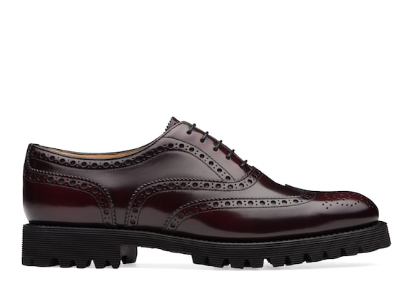 Church's true Oxford Brogue in Pelle Spazzolata Lucida Burgundy