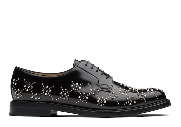 Church's Shannon 10 x noir kei ninomiya Derby in Vitello Spazzolato Lucido con Borchie Nero