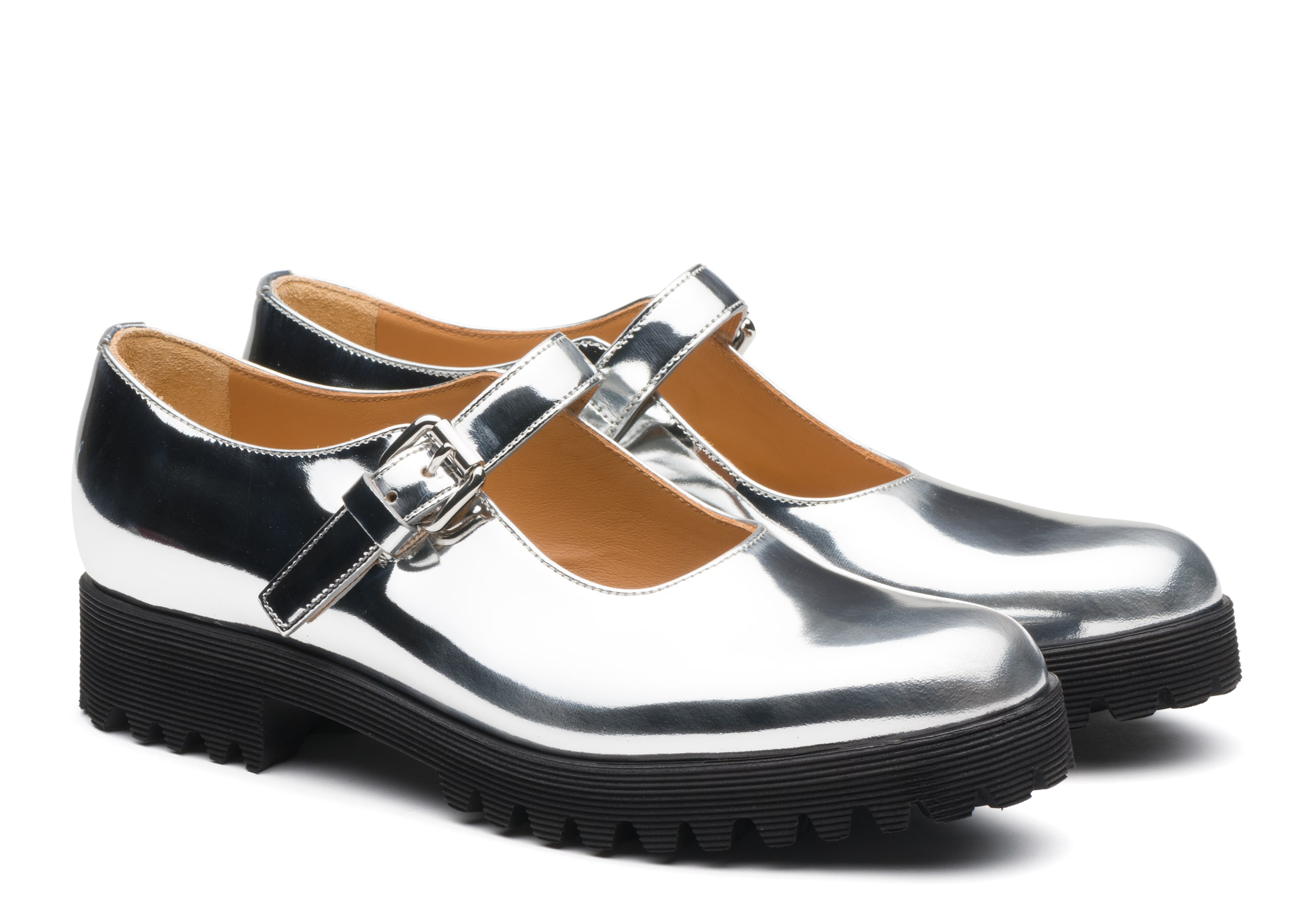 Kn1 Church's Mirror Calf Leather Mary Jane Gold/silver