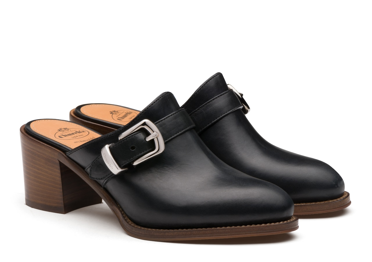 Bridget Church's Monteria Calf Leather Heeled Mule Black