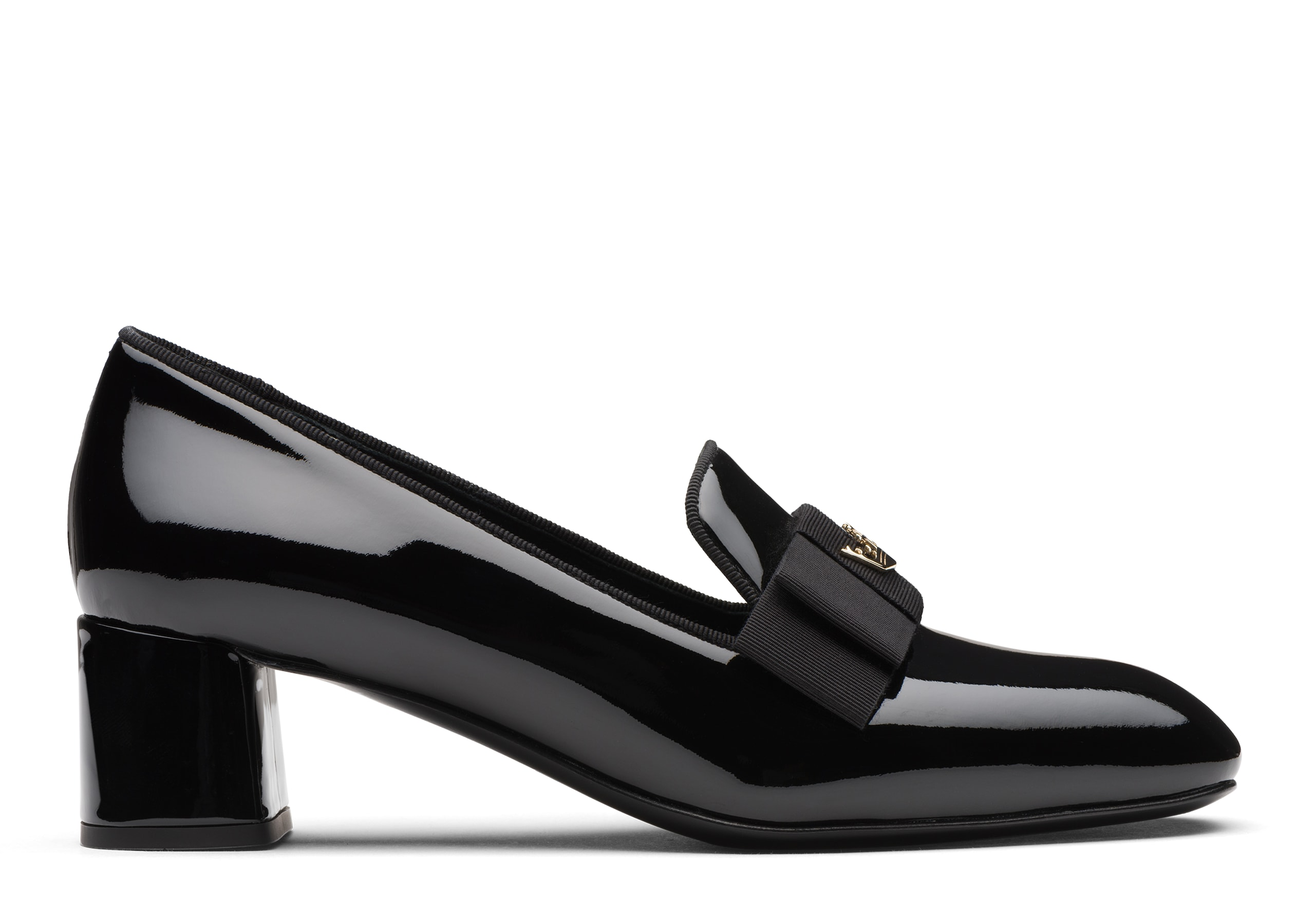 Abbie 45 Church's Patent Heeled Loafer Black