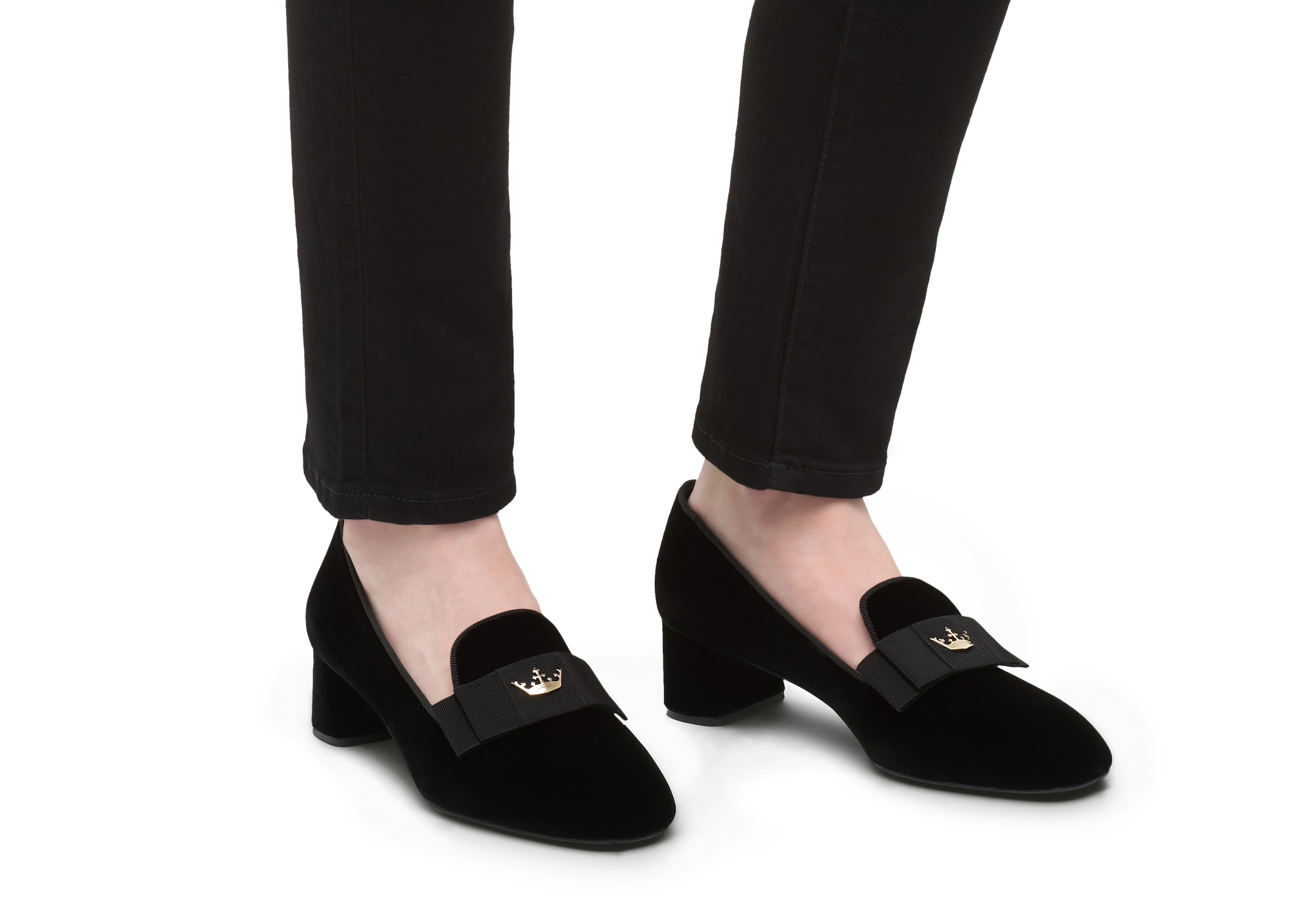 Abbie 45 Church's Velvet Heeled Loafer Black