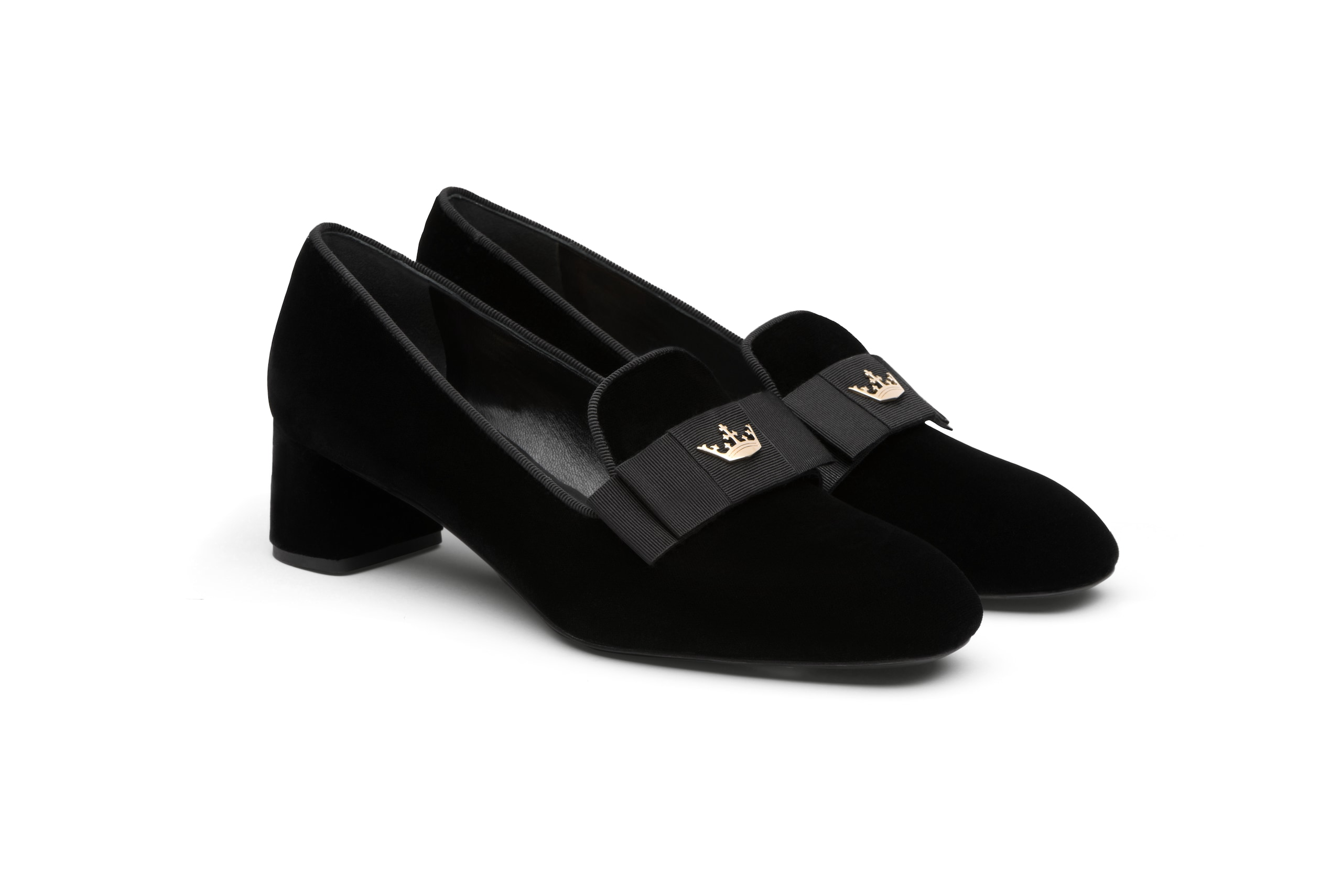 Abbie 45 Church's Mocassino con Tacco in Velluto Nero