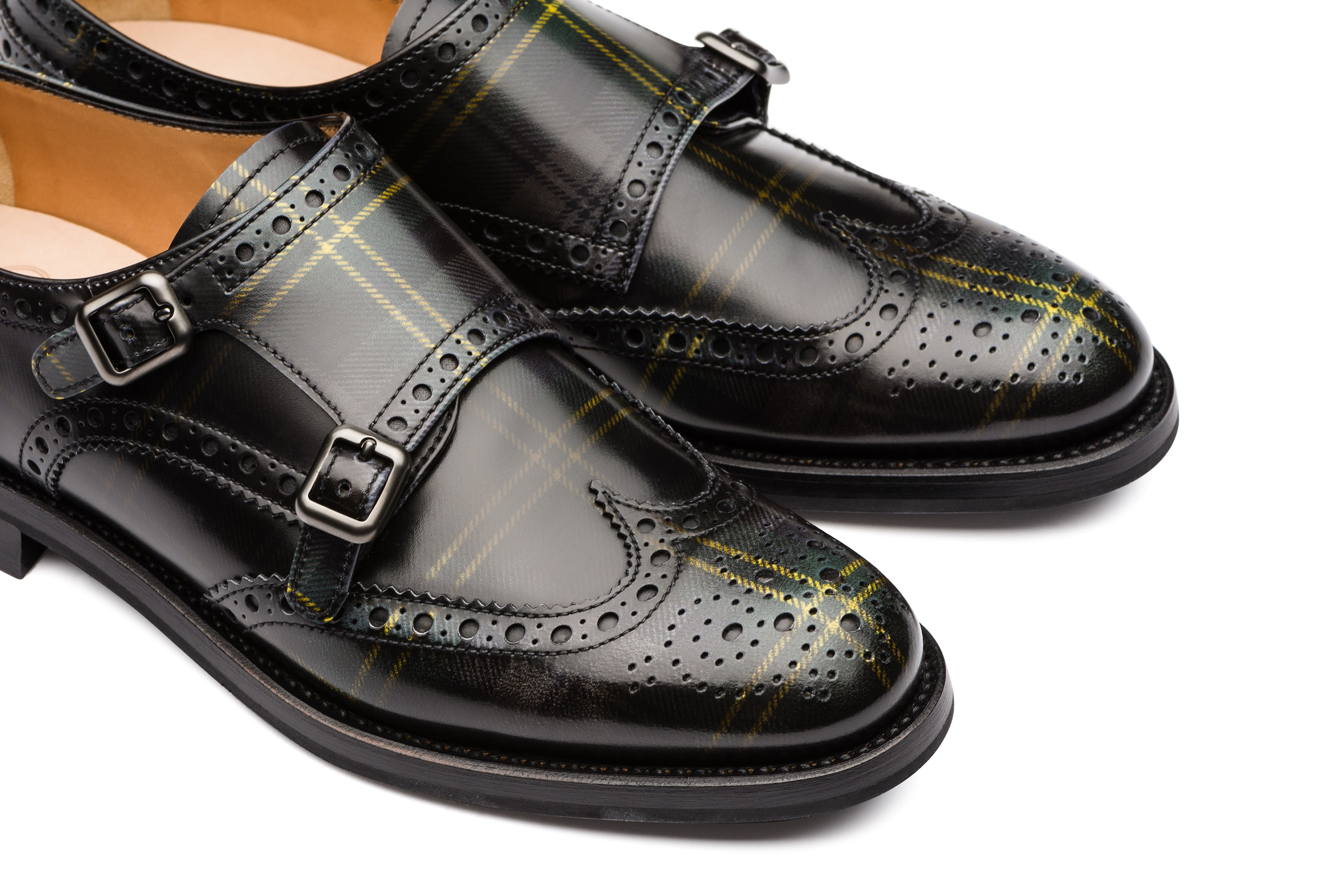 Lana r Church's Polished Fumè Monk Tartan Grey