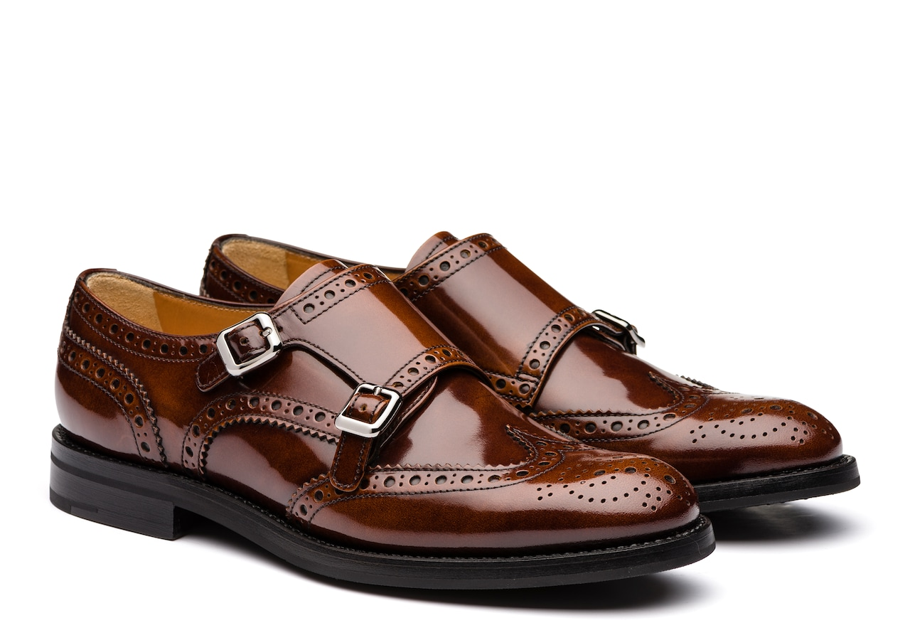 Lana r Church's Monk Brogue in Pelle Lucida Marrone
