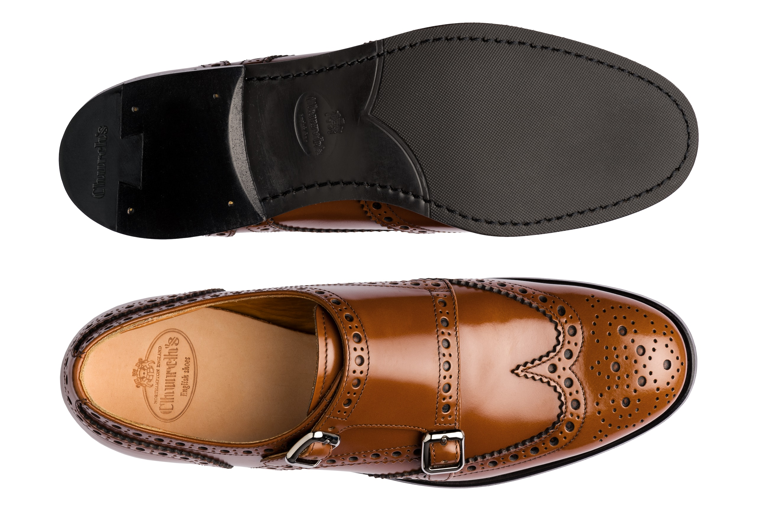 Lana r Church's Polished Binder Monk Brogue Brown