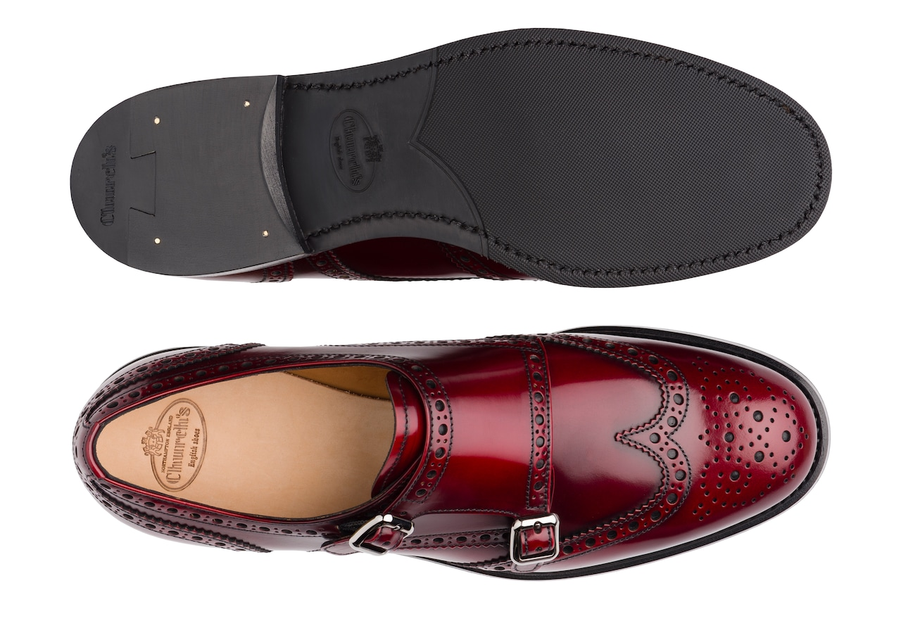 Lana r Church's Monk Brogue in Pelle di Vitello Spazzolato Rosso