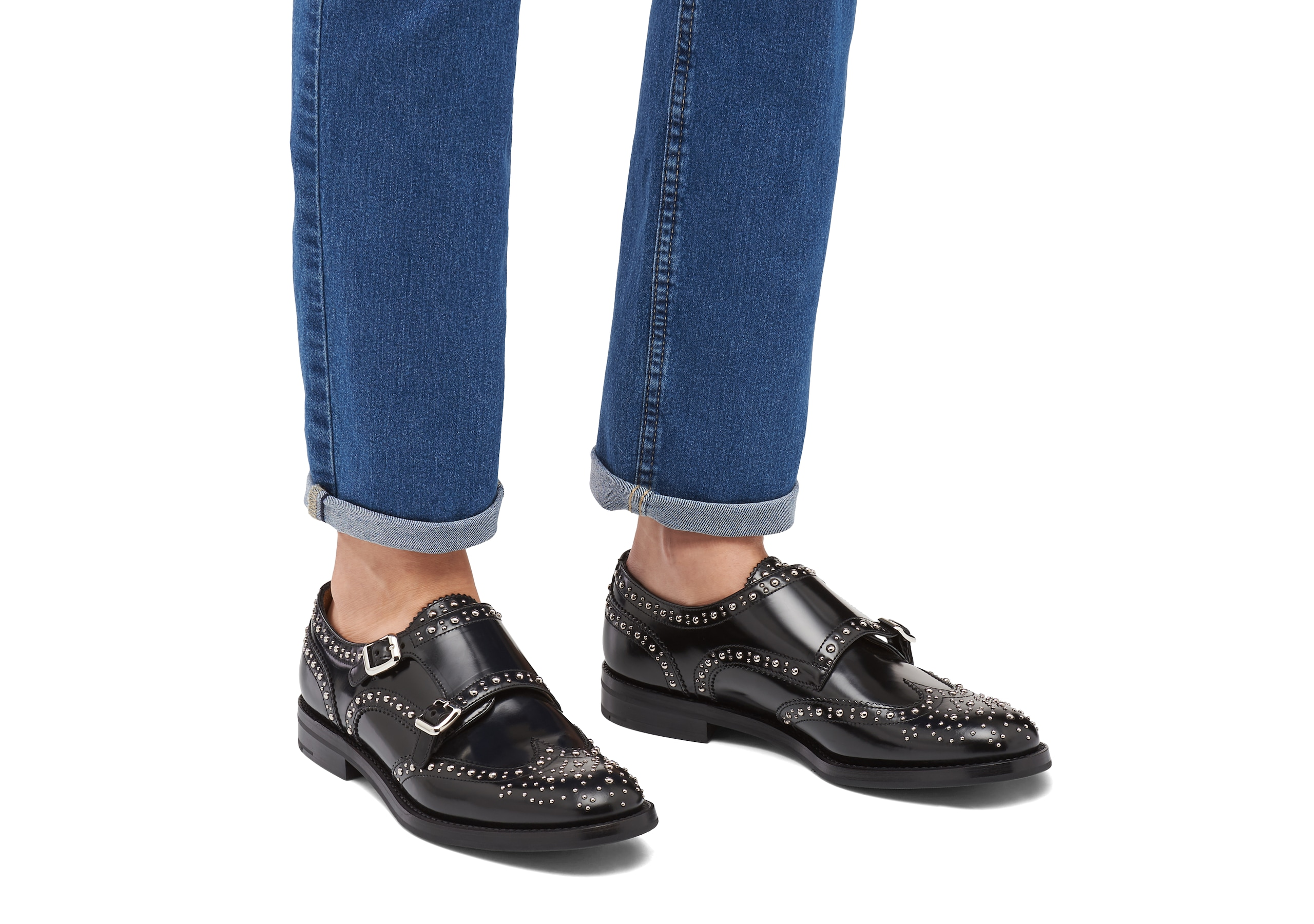 Lana met Church's Polished Binder Monk Brogue  Stud Black